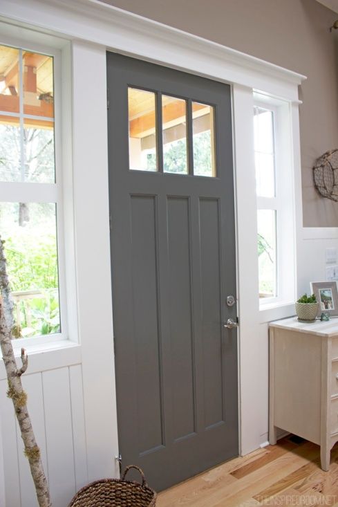 Dark-Gray-Painted-Front-Door-The-Inspired-Room