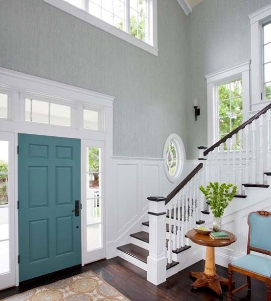 interior of front door painted a teal or blue green colour. Black Bedroom Furniture Sets. Home Design Ideas