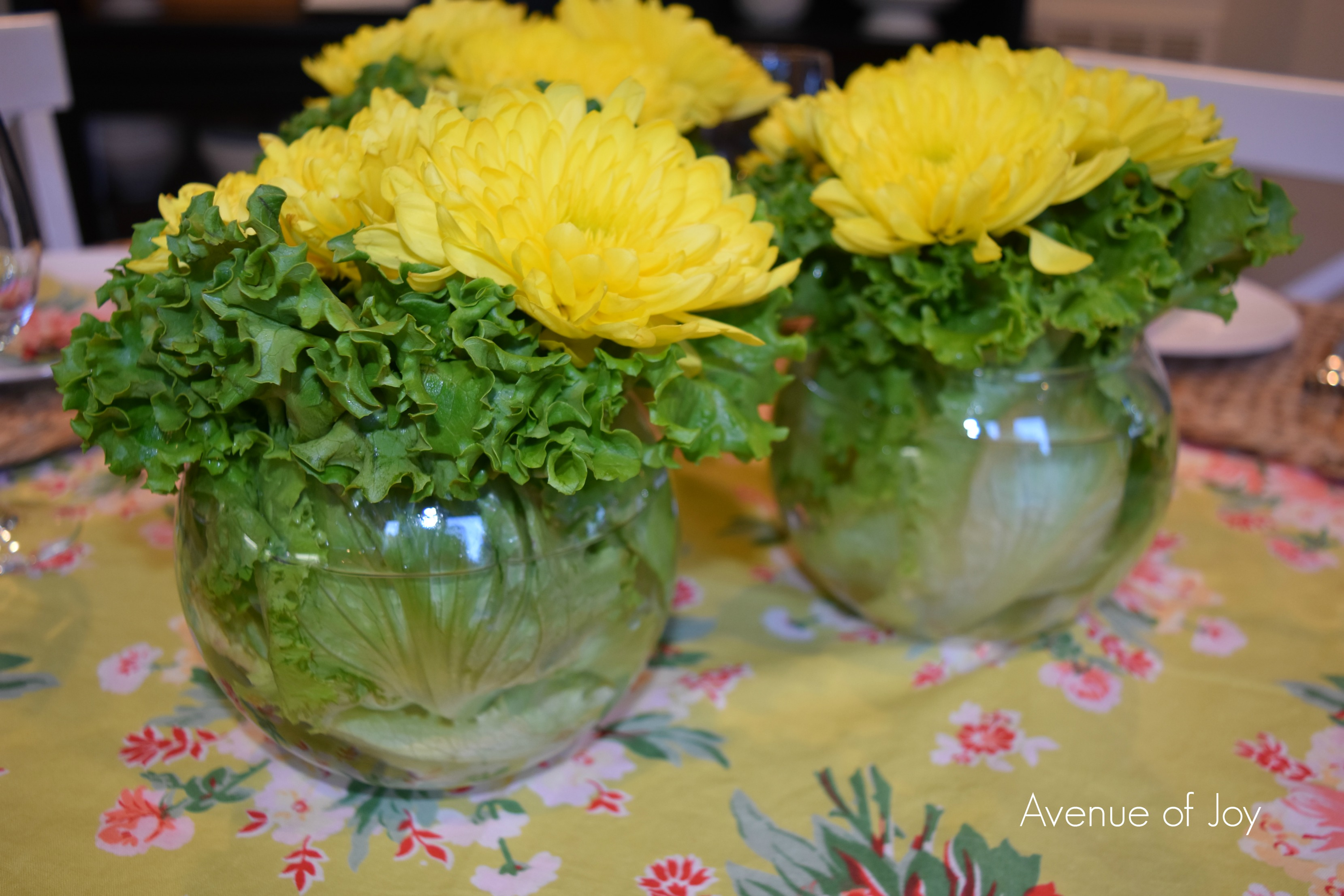 Diy Spring Centerpiece Using Lettuce Leaves And A Few Other Diy